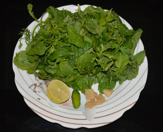 These are the ingredients for making the mint dip. Blend them in a mixer to make a paste. Collect the paste in a bowl.