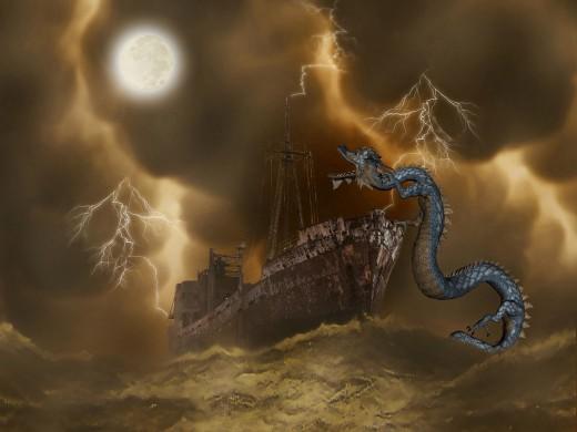 Artwork of sea monster