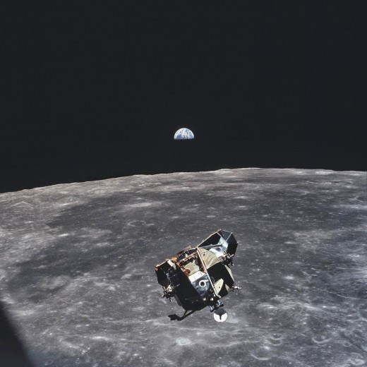 Of all the Humans alive at the time, only one isn't in this photo. Micheal Collins, the Orbiter commander took the photo as Neil and Buzz went down to the moon for that historic walk!