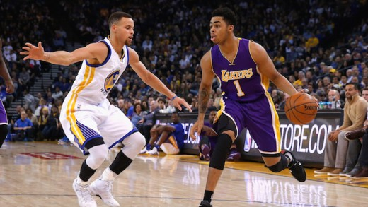 Stephen Curry and D'Angelo Russell
