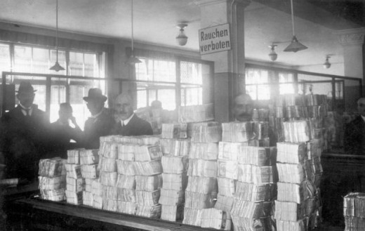 German bank notes at the Reichsbank during the hyperinflation.