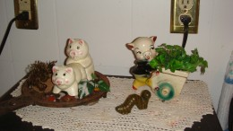Cute little Antique pig taking his basket to market, and the piggy salt n' pepper shaker, shakin' it!