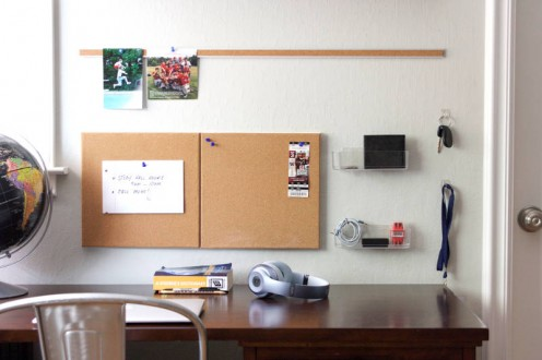 This is a great way to organize by hanging storage on the wall above your desk.