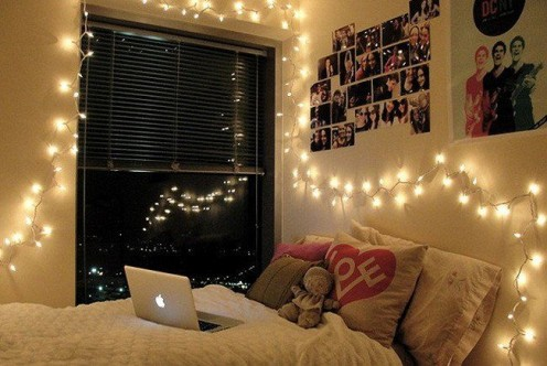 Twinkle lights add a nice mood after finishing your homework.