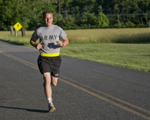 U.S. Army soldier running to maintain his health