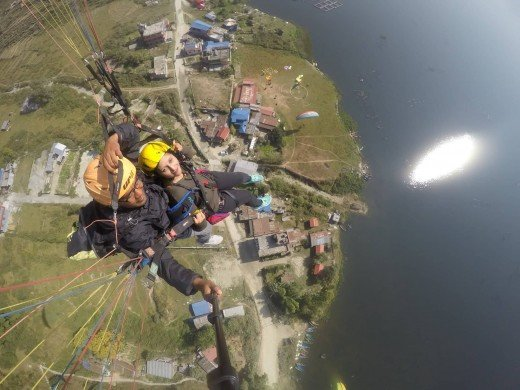 Paragliding over the Phewa Lake