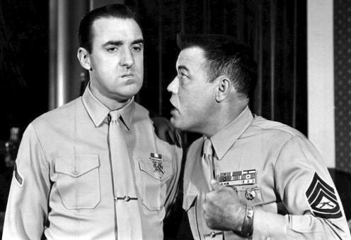 Jim Nabors left, Gomer Pyle and Frank Sutton Sgt Carte,r on Gomer Pyle USMC.