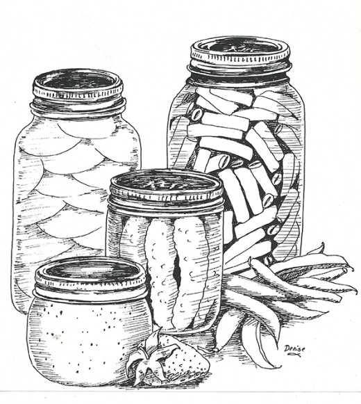 Canning jars in ink