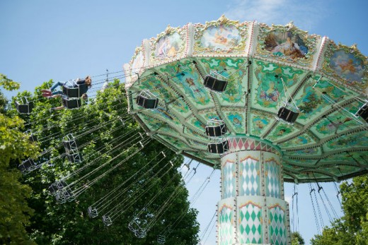 One of the amusement rides in the Bois--note the Rococo influence throughout the top panels