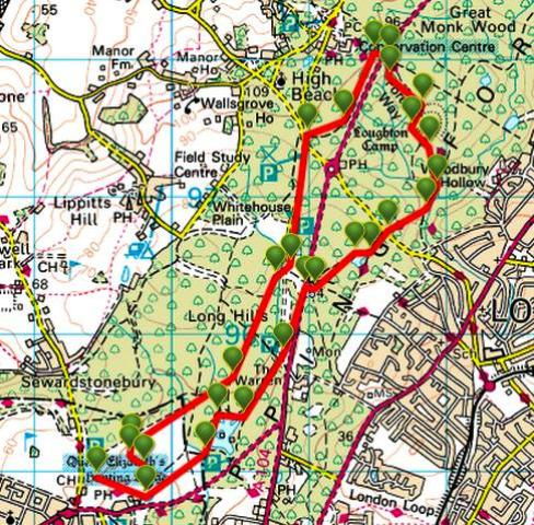 ViewRanger map of the High Beach (Beech) area shows the Robin Hood roundabout above Loughton to the east; see also the Wakes Arms roundabout (next north) with the 'switch-back' road to High Beech.