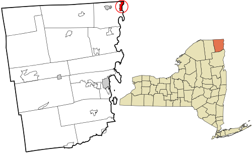 Map showing the location of this village within Clinton County, New York. Data source: 2010 U.S. census