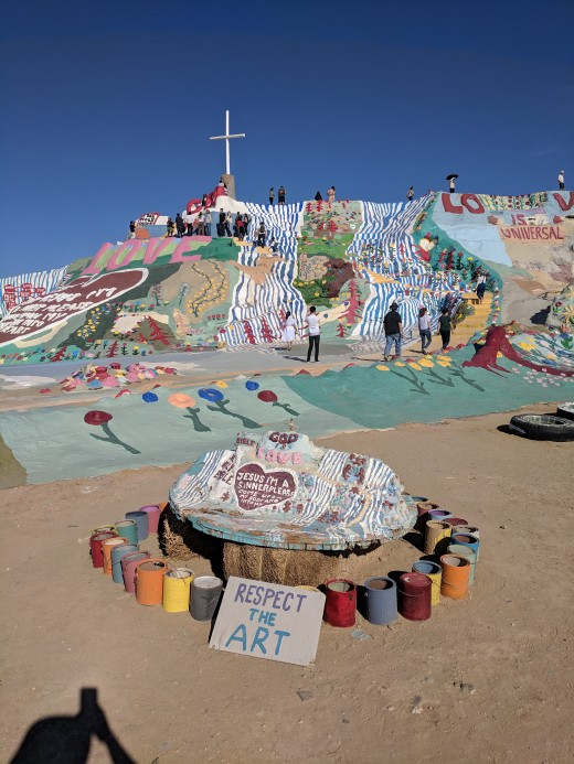 Our first view of Salvation Mountain that sits in the desert in Southern California just south of the Salton Sea.