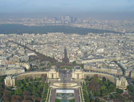 View looking west of Bois de Boulogne from top of Eiffel Tower