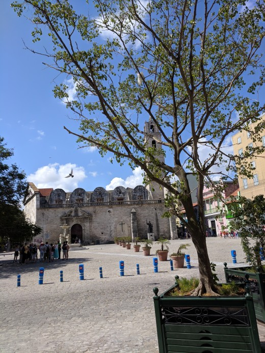 Looking across Plaza de San Francisco de Asis  toward Basilica.  Meeting place for our classic car tour was a little to the right of small tree in bottom right corner