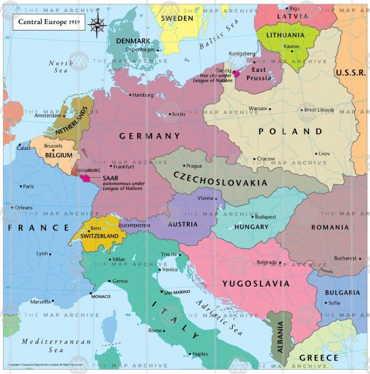 The new borders of post-war Europe.