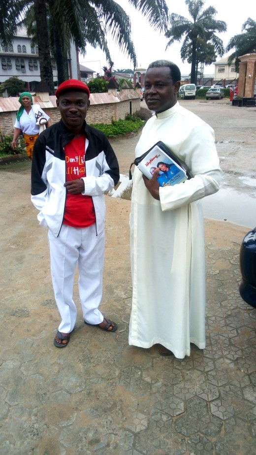 Fr Victor Kalu and I after 8.00am Mass at S.S. Anthony &Jude's Parish, Immaculate Heart Avenue, Umungasi, Aba, Abia State, NIGERIA.