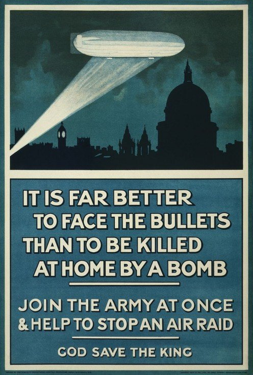 The Zeppelins were used to recruit troops to the Western Front to help end the stalemate.