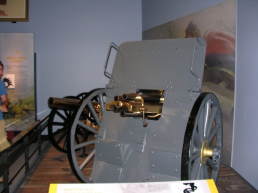 An early machine gun at the Marine Corps Museum