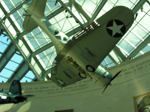 A Marine Corps WWII dive bomber at the Marine Corps Museum,