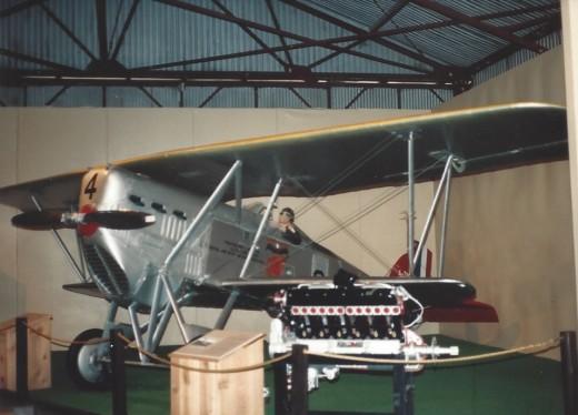 A Marine Corps bi-plane, inside the Marine Air-Ground Museum
