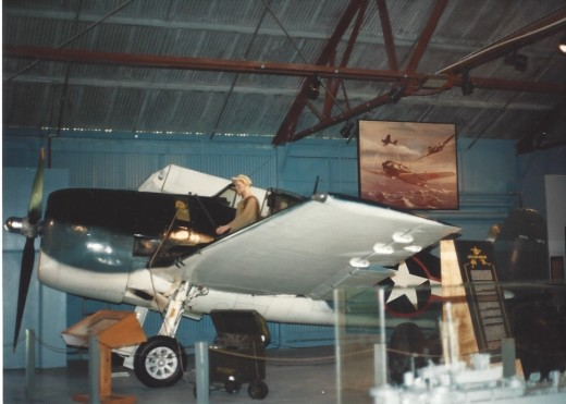 An F-6F Hellcat in the Marine Air-Ground museum,
