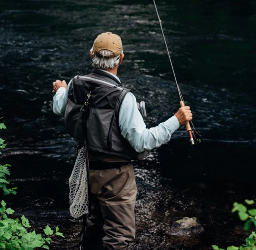 Fly fishing in a river.