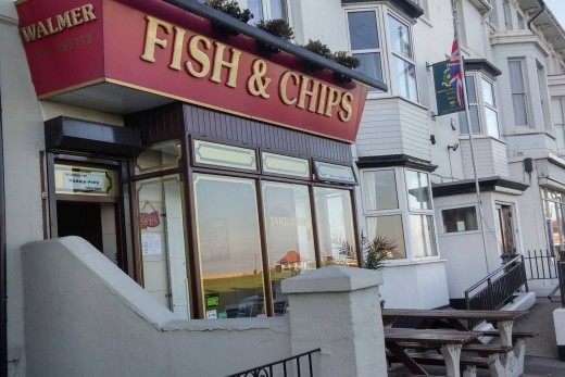 My Favourite Fish & Chips in Deal at 36 The Strand, Walmer, Deal, just across the road from the beach.