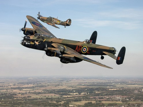Avro Lancaster the British four engine bomber used throughout the Second World War.
