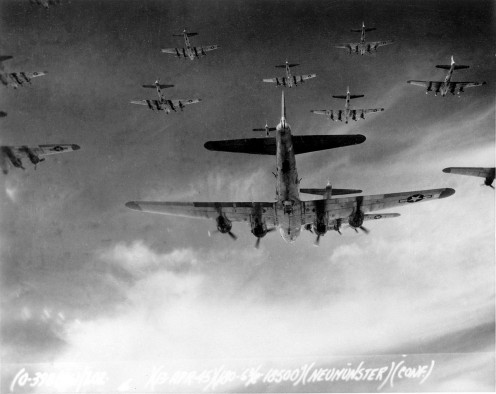 A large formation of B-17s on the way to bomb a German city in 1943.