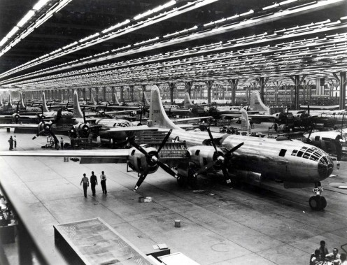 Boeing assembly line at Wichita, Kansas (1944) full of B-29s.