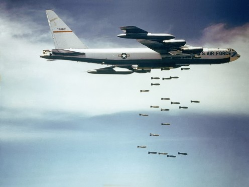 A B-52 dropping bombs during the Vietnam war.
