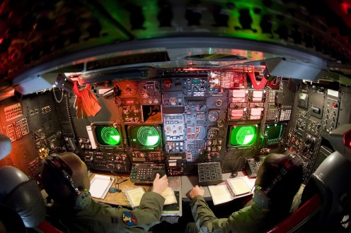 The command station below deck of the B-52.
