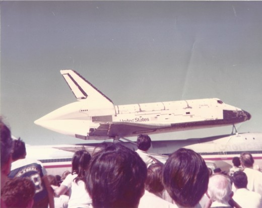 The Space Shuttle Columbia atop a Boeing B-747 at Kelly AFB, TX, March 1979