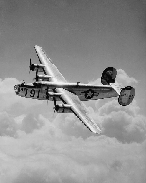 The B-24 Liberator in the air. The B-24 holds records as the world's most produced bomber, heavy bomber, multi-engine aircraft, in American military aircraft in history. By the end of the WWII over 18,000 B-24s were built.