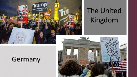The UK and Germany, protesting an American President.