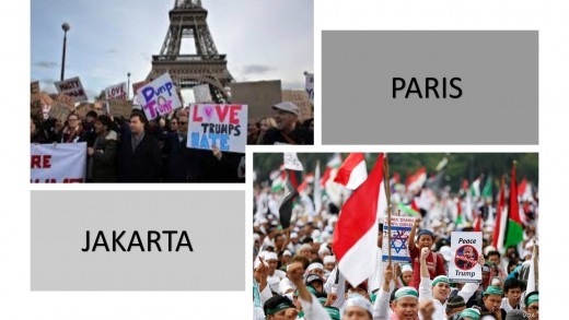 Paris and Jakarta protesting an American President