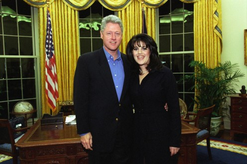 President Clinton and White House Intern Monica Lewinski, the embarrassment of the Office of the President seen around the world.