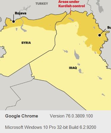 Map shows Kurdish held areas