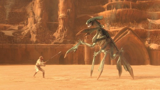 Obi-Wan fighting for his life in the arena.