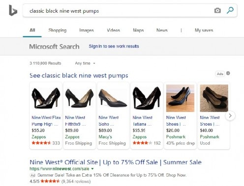 Bing search results for classic black Nine West pumps.