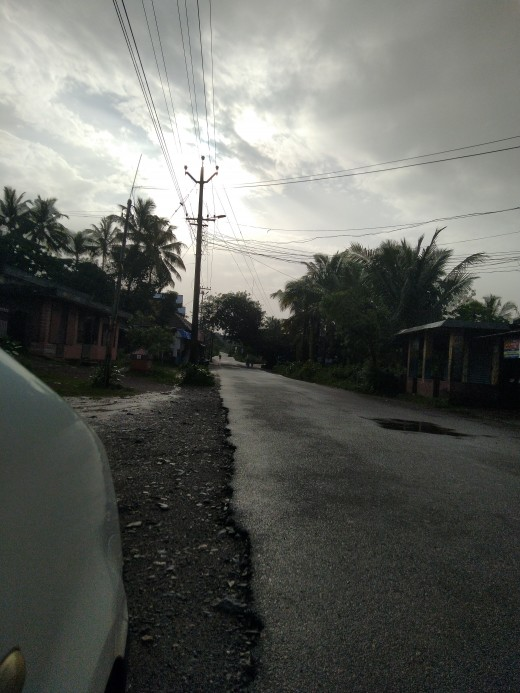 Cloudy early morning in village town