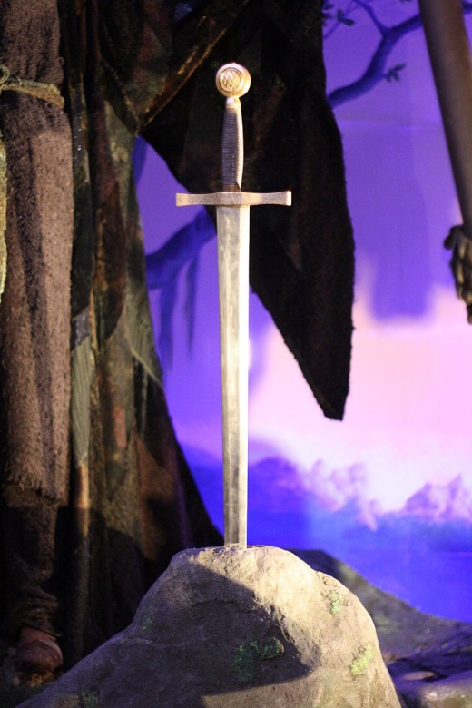 The sword used in Excalibur on display at the London Film Museum.