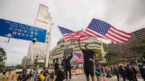 American flags in HK