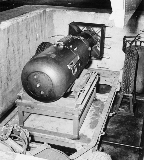 The Atom Bomb the Enola Gay would drop on Hiroshima Monday August 6,1945, at 8:15 a.m.