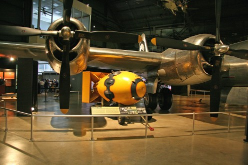 Bockscar at the Smithsonian Air and Space museum along with the Fat Man bomb it dropped on Nagasaki killing over 40,000 Japanese instantly.