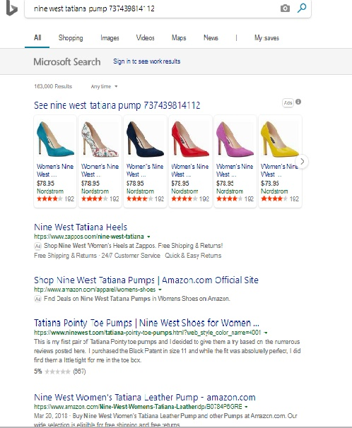Filtered Bing search results for Nine West Tatiana pumps.