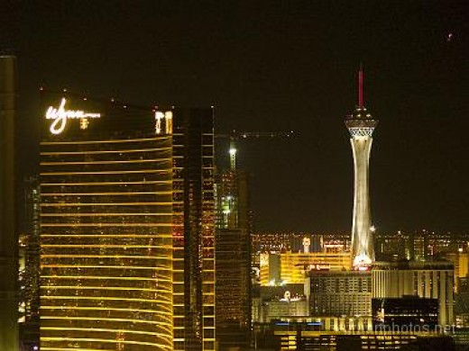 The view from Paris room 3344 features Wynn and Stratosphere