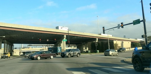 "I-55 over pass ,Archer Ave and Ashland Ave Orange Line ""L"" station."