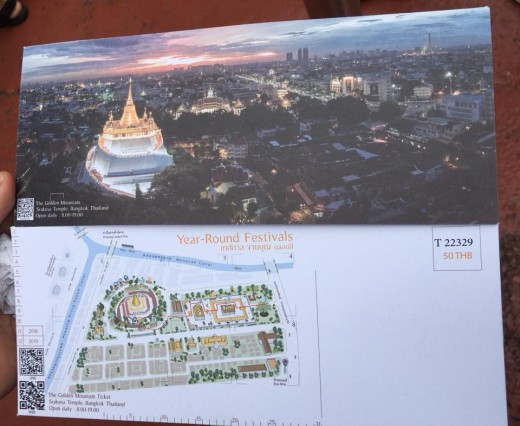 A Visit to the Wat Saket (Golden Mount): The ticket is worth 50 Baht per visitor.