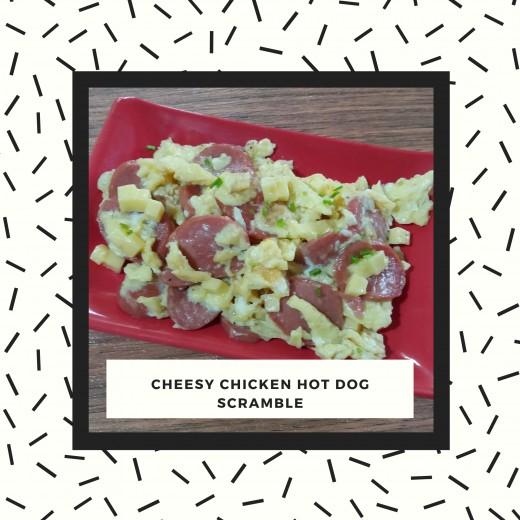 cheesy chicken hot dog scramble